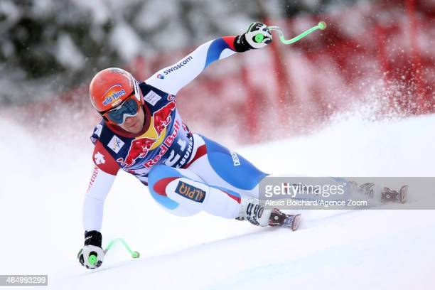Patrick Kueng of Switzerland competes during the Audi FIS Alpine Ski World Cup Men's Downhill on January 25 2014 in Kitzbuehel Austria