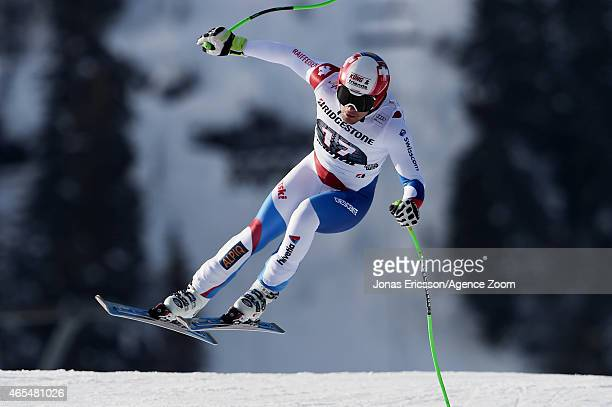 Patrick Kueng of Switzerland competes during the Audi FIS Alpine Ski World Cup Men's Downhill on March 07 2015 in Kvitfjell Norway