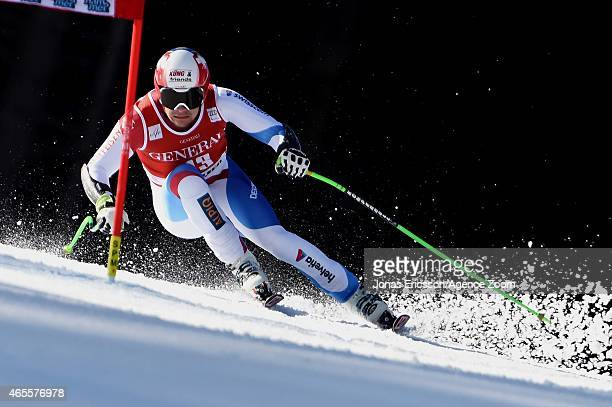 Patrick Kueng of Switzerland competes during the Audi FIS Alpine Ski World Cup Men's Super G on March 08 2015 in Kvitfjell Norway