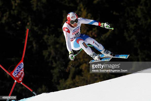 Patrick Kueng of Switzerland competes during the Audi FIS Alpine Ski World Cup Finals Men's Downhill on March 18 2015 in Meribel France