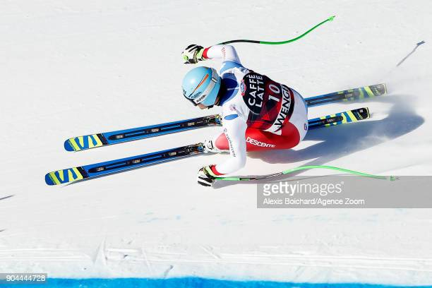 Patrick Kueng of Switzerland competes during the Audi FIS Alpine Ski World Cup Men's Downhill on January 13 2018 in Wengen Switzerland