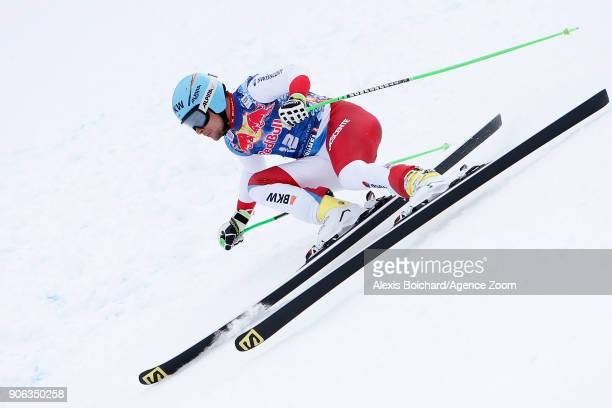 Patrick Kueng of Switzerland competes during the Audi FIS Alpine Ski World Cup Men's Downhill Training on January 18 2018 in Kitzbuehel Austria