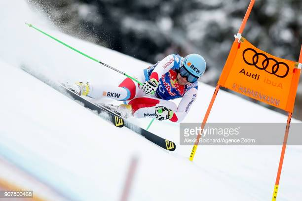 Patrick Kueng of Switzerland competes during the Audi FIS Alpine Ski World Cup Men's Downhill on January 20 2018 in Kitzbuehel Austria