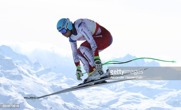 Patrick Kueng of Switzerland competes in the Men's Downhill during the FIS Alpine World Ski Championships on February 12 2017 in St Moritz Switzerland
