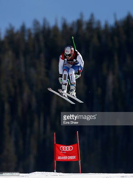 Patrick Kueng of Switzerland descends the course during men's downhill training for the Audi FIS World Cup on the Birds of Prey on December 2 2014 in...