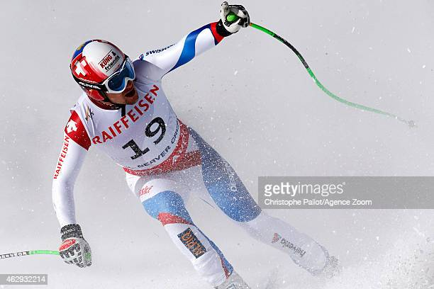 Patrick Kueng of Switzerland finishes his run to win the gold medal during the FIS Alpine World Ski Championships Men's Downhill on February 07 2015...