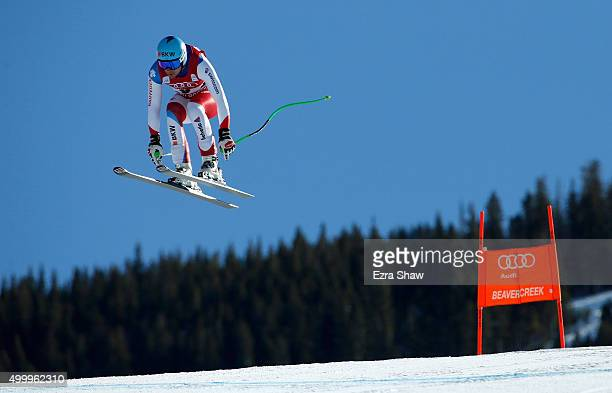 Patrick Kueng of Switzerland goes over the Red Tail jump during the Audi FIS Ski World Cup downhill race on the Birds of Prey on December 4 2015 in...