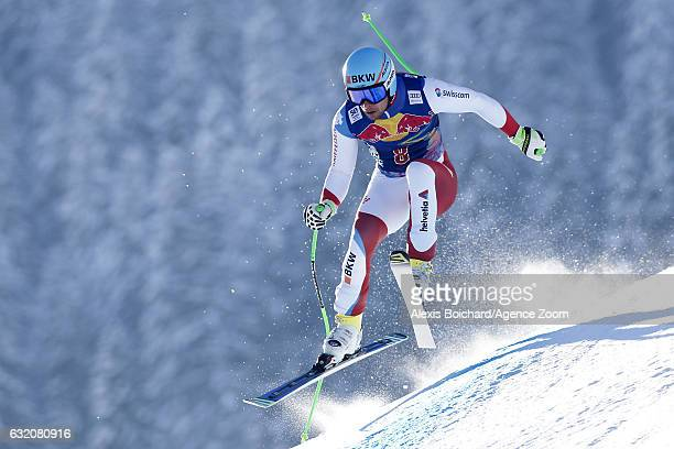 Patrick Kueng of Switzerland in action during the Audi FIS Alpine Ski World Cup Men's Downhill Training on January 19 2017 in Kitzbuehel Austria