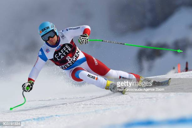 Patrick Kueng of Switzerland in action during the Audi FIS Alpine Ski World Cup Men's Downhill Training on January 11 2018 in Wengen Switzerland