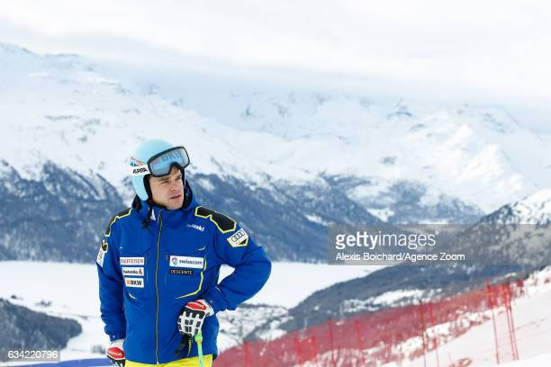 Patrick Kueng of Switzerland inspects the course during the FIS Alpine Ski World Championships Men's SuperG on February 08 2017 in St Moritz...