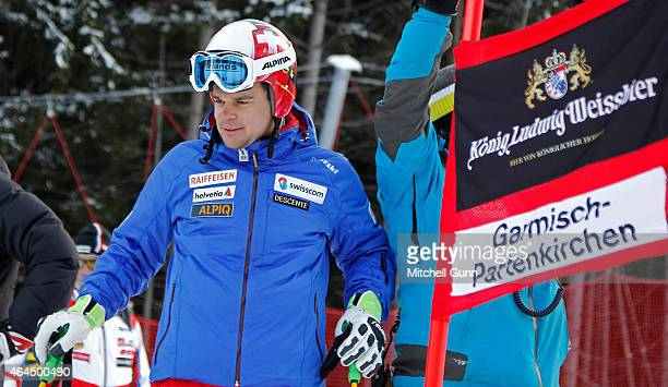 Patrick Kueng of Switzerland inspects the Kandahar course before the Audi FIS Alpine Ski World Cup Downhill training on February 26 2015 in Val...