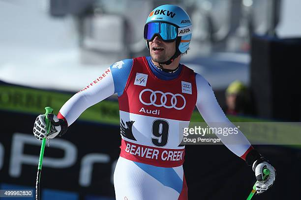 Patrick Kueng of Switzerland looks on after he finished ninth in the men's downhill at the 2015 Audi FIS Ski World Cup on the Birds of Prey on...