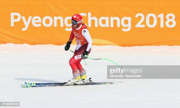 Patrick Kueng of Switzerland looks on after making a run during the Men's Downhill 3rd Training on day one of the PyeongChang 2018 Winter Olympic...