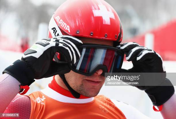 Patrick Kueng of Switzerland looks on during the Men's Downhill Alpine Skiing training at Jeongseon Alpine Centre on February 9 2018 in...