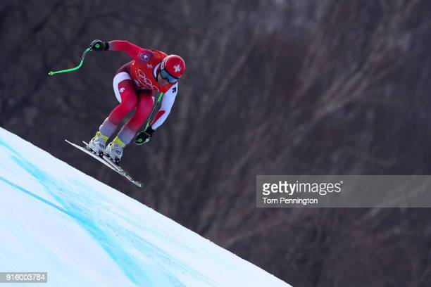 Patrick Kueng of Switzerland makes a run during the Men's Downhill Alpine Skiing training at Jeongseon Alpine Centre on February 9 2018 in...