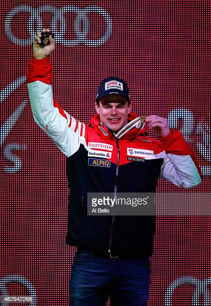 Patrick Kueng of Switzerland on the podium during the Men's Downhill Medals Ceremony in Championships Plaza on Day 6 of the 2015 FIS Alpine World Ski...