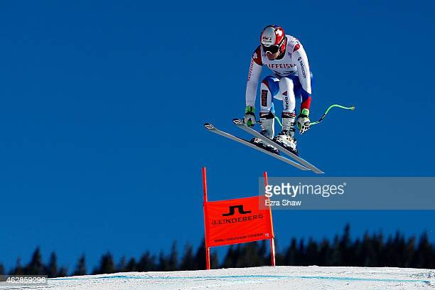 Patrick Kueng of Switzerland practices during Men's Downhill training on the Birds of Prey racecourse on Day 5 of the 2015 FIS Alpine World Ski...