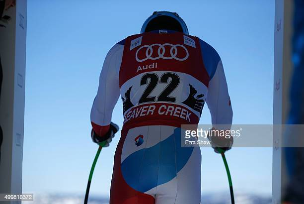 Patrick Kueng of Switzerland prepares for the start of a downhill training run for the Audi FIS Ski World Cup on the Birds of Prey on December 3 2015...