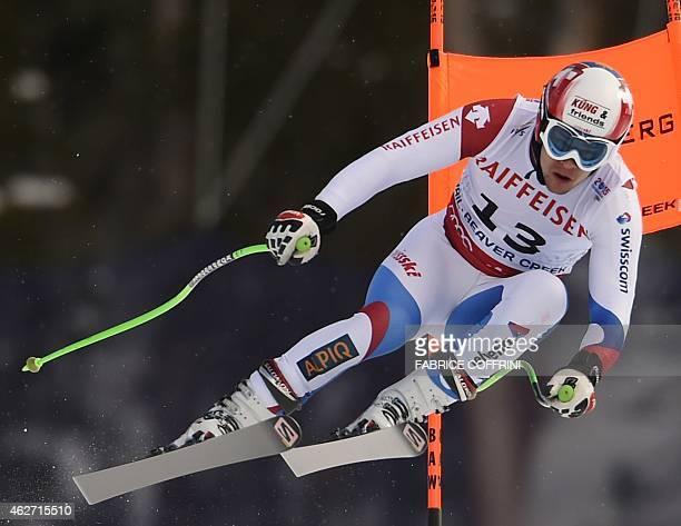 Patrick Kueng of Switzerland races during the 2015 World Alpine Ski Championships men's downhill training February 3 2015 in Beaver Creek Colorado...