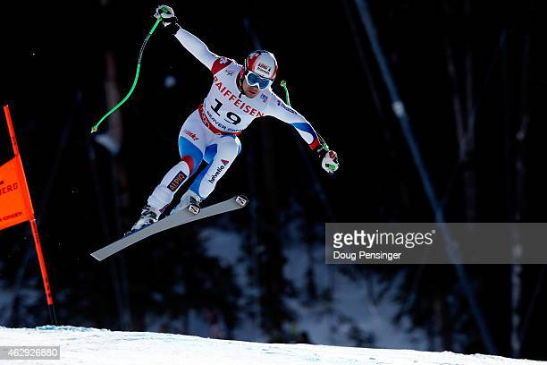 Patrick Kueng of Switzerland races during the Men's Downhill on the Birds of Prey racecourse on Day 6 of the 2015 FIS Alpine World Ski Championships...