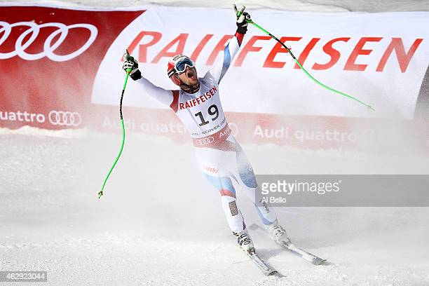 Patrick Kueng of Switzerland reacts after crossing the finish of the Men's Downhill in Red Tail Stadium on Day 6 of the 2015 FIS Alpine World Ski...