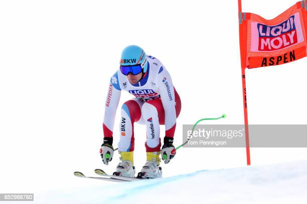 Patrick Kueng of Switzerland skis during a training run for the men's downhill at the Audi FIS Ski World Cup Finals at Aspen Mountain on March 13...