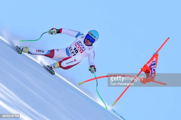 Patrick Kueng of Switzerland skis during a training run for the men's downhill at the Audi FIS Ski World Cup Finals at Aspen Mountain on March 14...