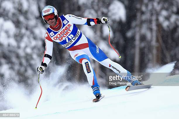 Patrick Kueng of Switzerland skis to first place in the men's Super G at the Birds of Prey Audi FIS Ski World Cup at Beaver Creek on December 7 2013...