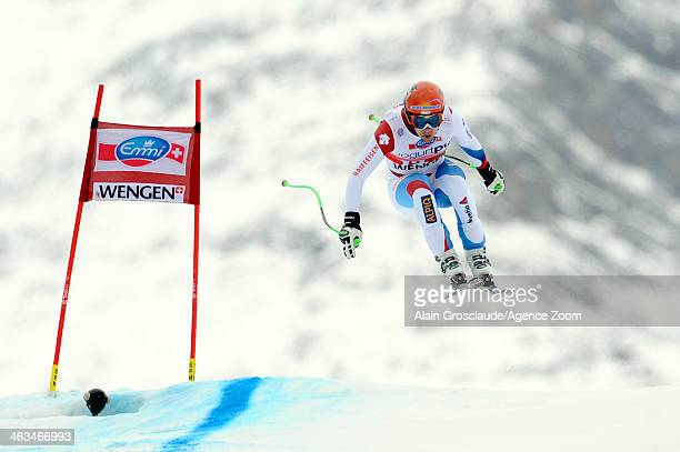 Patrick Kueng of Switzerland takes 1st place during the Audi FIS Alpine Ski World Cup Men's Downhill on January 18 2014 in Wengen Switzerland