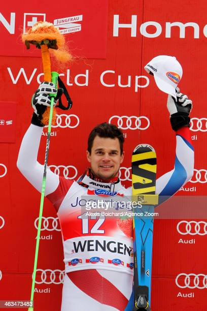 Patrick Kueng of Switzerland takes the 1st place during the Audi FIS Alpine Ski World Cup Men's Downhill on January 18 2014 in Wengen Switzerland