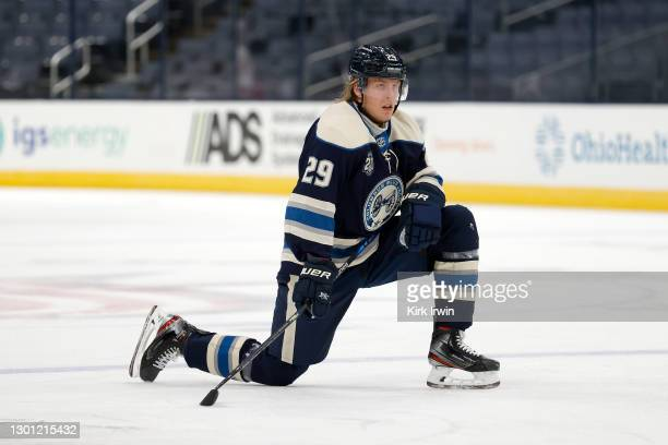 Patrick Laine of the Columbus Blue Jackets warms up prior to the start of the game against the Carolina Hurricanes at Nationwide Arena on February 7,...