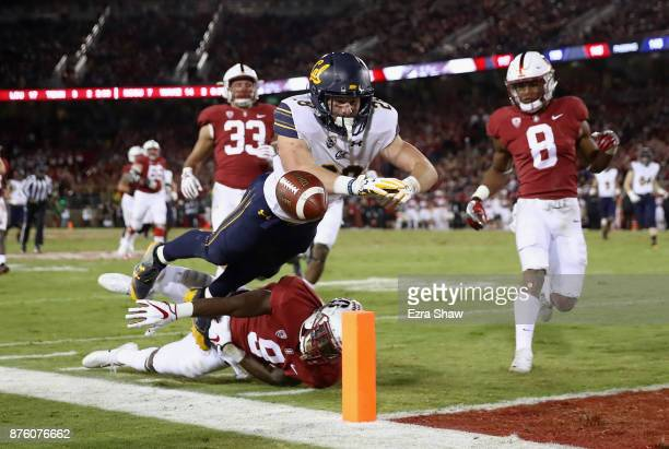 Patrick Laird of the California Golden Bears fumbles the ball outofbounds when Ben Edwards of the Stanford Cardinal tackled him close to the goal...