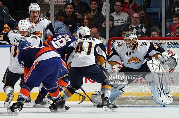 Patrick Lalime of the Buffalo Sabres defends against the New York Islanders on October 31, 2009 at Nassau Coliseum in Uniondale, New York.