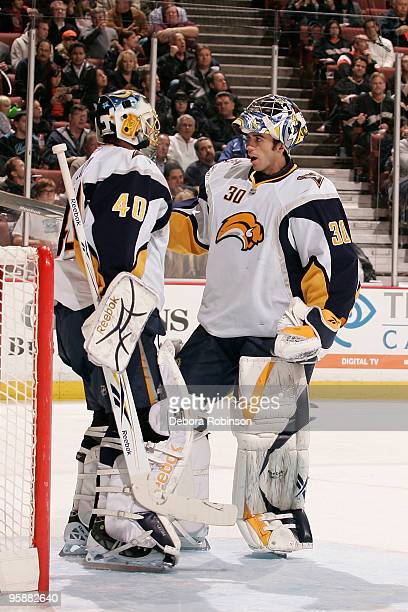 Patrick Lalime of the Buffalo Sabres is replaced by Ryan Miller of the Buffalo Sabres in the first period during the game on January 19, 2010 at...