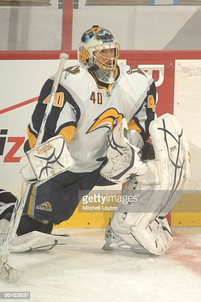 Patrick Lalime of the Buffalo Sabres looks on before a NHL hockey game against the Washington Capitals on December23, 2009 at the Verizon Center in...