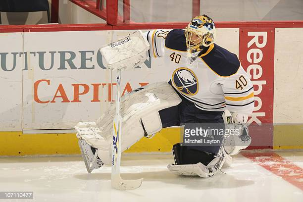 Patrick Lalime of the Buffalo Sabres looks on during warm ups of a NHL hockey game against the Washington Capitals on November 17, 2010 at the...