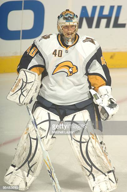 Patrick Lalime of the Buffalo Sabres looks on during warms up of a NHL hockey game against the Washington Capitals on December23, 2009 at the Verizon...