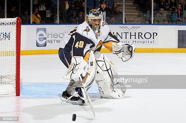 Patrick Lalime of the Buffalo Sabres makes a save against the New York Islanders on October 31, 2009 at Nassau Coliseum in Uniondale, New York.