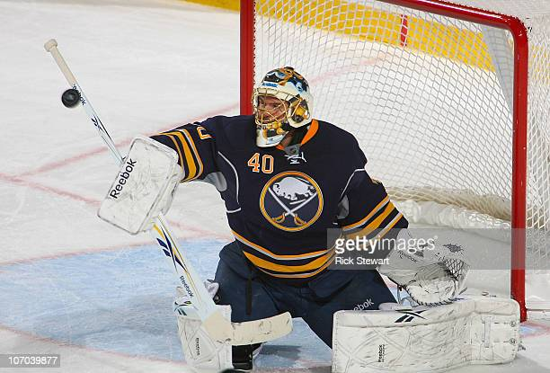 Patrick Lalime of the Buffalo Sabres makes a save against the Tampa Bay Lightning at HSBC Arena on November 20, 2010 in Buffalo, New York.