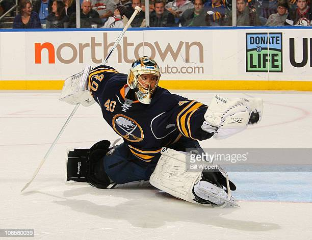 Patrick Lalime of the Buffalo Sabres makes a second period glove save on a shot by P.K. Subban of the Montreal Canadiens at HSBC Arena on November 5,...