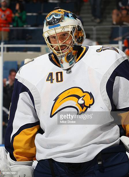 Patrick Lalime of the Buffalo Sabres skates against the New York Islanders on October 31, 2009 at Nassau Coliseum in Uniondale, New York. Islanders...