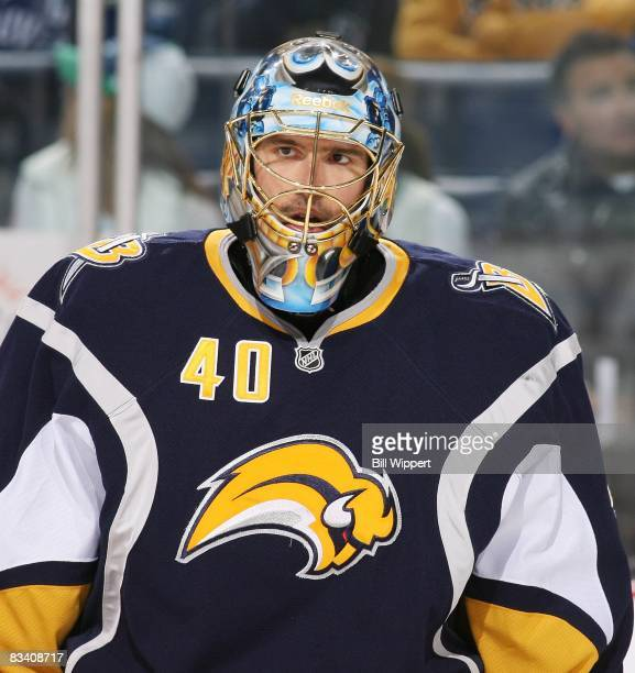 Patrick Lalime of the Buffalo Sabres skates in warmups beofre playing against the Vancouver Canucks on October 17, 2008 at HSBC Arena in Buffalo, New...