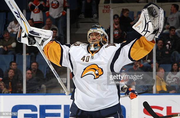 Patrick Lalime of the Buffalo Sabres streches before plaing against the New York Islanders on October 31, 2009 at Nassau Coliseum in Uniondale, New...