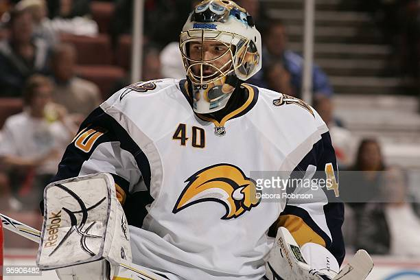 Patrick Lalime of the Buffalo Sabres waits in the crease during the game against the Anaheim Ducks on January 19, 2010 at Honda Center in Anaheim,...