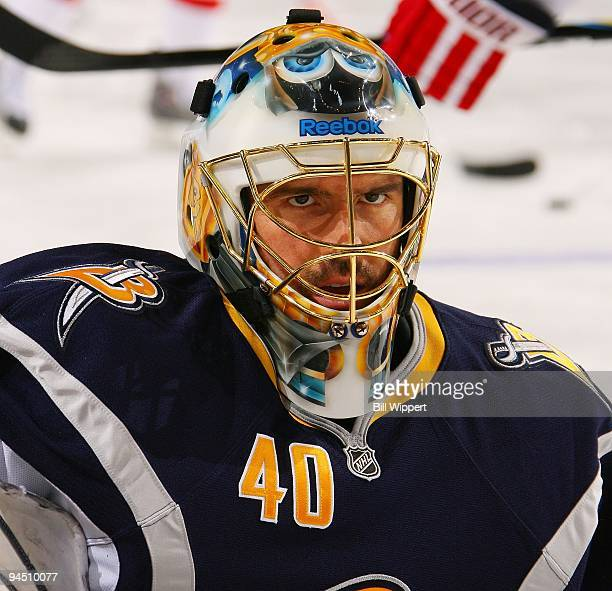 Patrick Lalime of the Buffalo Sabres warms up before playing the Washington Capitals on December 9, 2009 at HSBC Arena in Buffalo, New York.