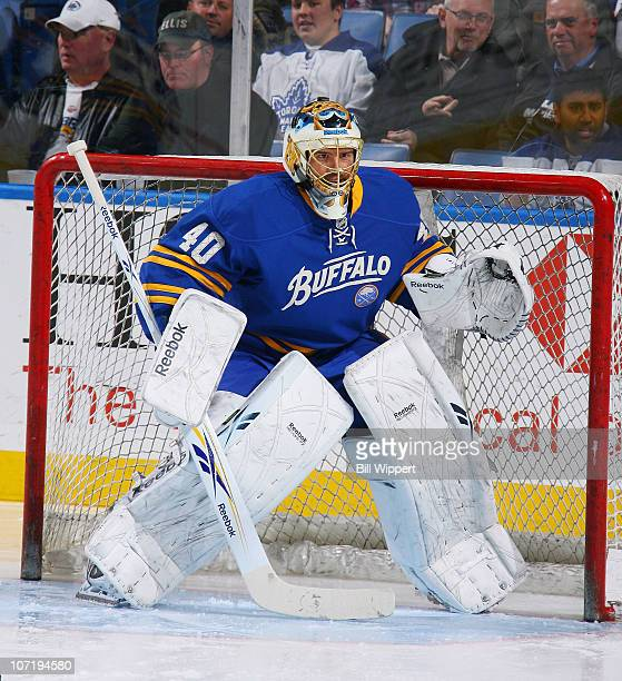 Patrick Lalime of the Buffalo Sabres warms up before their game against the Toronto Maple Leafs at HSBC Arena on November 26, 2010 in Buffalo, New...