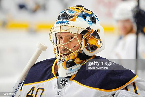 Patrick Lalime of the Buffalo Sabres warms up prior to the game against the Minnesota Wild at Xcel Energy Center on March 6, 2011 in Saint Paul,...