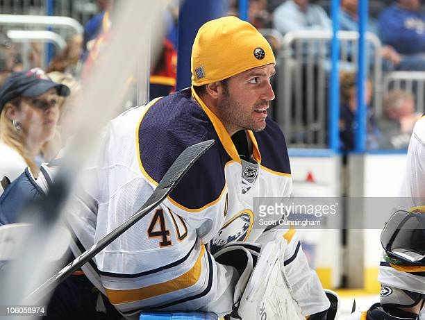 Patrick Lalime of the Buffalo Sabres watches the action against the Atlanta Thrashers at Philips Arena on October 20, 2010 in Atlanta, Georgia.