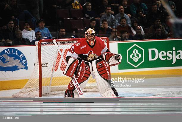 Patrick Lalime of the Ottawa Senators follows the play during a game against the Montreal Canadiens Circa 2003 at the Bell Centre in Montreal,...