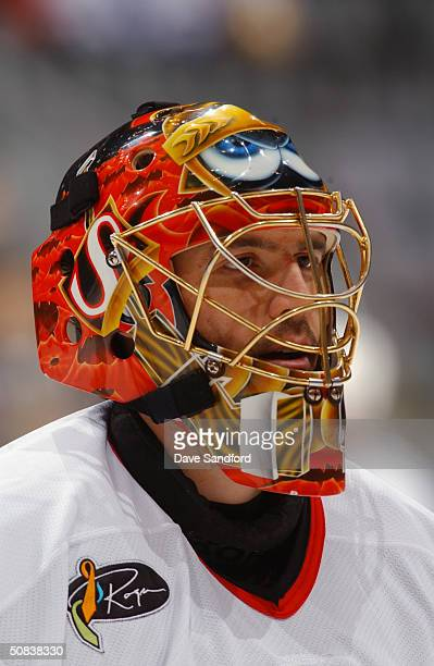 Patrick Lalime of the Ottawa Senators looks on during the game against the Toronto Maple Leafs at Air Canada Centre on March 27, 2004 in Toronto,...